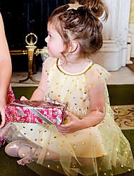 levne -Dítě Dívčí Základní / Šik ven Jednobarevné / Galaxie Flitry / Síťka Krátký rukáv Nad kolena Bavlna Šaty Žlutá