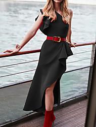 preiswerte -Midi Etuikleid der Frauen eine Schulter rot schwarz gelb S m L xl