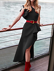 billige -kvinners midi-kappe kjole en skulderrød svart gul s m l xl