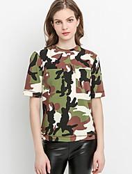 abordables -Eu / us camiseta delgada para mujer - camuflaje / camuflaje con cuello redondo