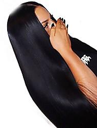 Недорогие -Натуральные волосы Лента спереди Парик Глубокое разделение Боковая часть стиль Бразильские волосы Естественный прямой Парик 250% Плотность волос с детскими волосами Подарок Горячая распродажа Удобный