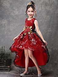 cheap -Princess Asymmetrical Flower Girl Dress - Satin / Tulle Sleeveless Jewel Neck with Appliques / Belt by LAN TING Express