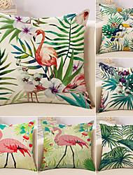 Недорогие -6 штук Хлопок / Лён Наволочки, Фламинго Цветы Животное Пляжный стиль тропический