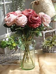 Χαμηλού Κόστους -Ψεύτικα λουλούδια 1 Κλαδί Κλασσικό Ευρωπαϊκό Τριαντάφυλλα Λοτός Αιώνια Λουλούδια Λουλούδι για Τραπέζι