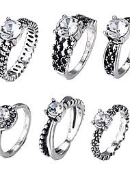 baratos -Mulheres Diamante sintético Retro Conjunto de anéis Vintage Anéis Jóias Prata Para Diário Festival 5 / 8 / 6½ / 7½ 6pcs