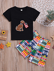 tanie -Dzieci Dla chłopców Aktywny / Podstawowy Nadruk Nadruk Krótki rękaw Krótkie Regularny Bawełna Komplet odzieży Czarny