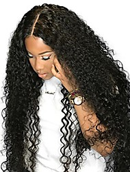 cheap -Remy Human Hair Human Hair 4x13 Closure Lace Front Wig Deep Parting style Peruvian Hair Curly Black Wig 250% Density with Baby Hair Natural Hairline African American Wig For Black Women With Bleached