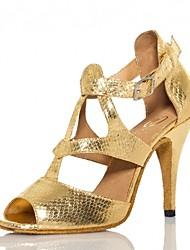abordables -Mujer Zapatos de Baile Latino PU Sandalia / Tacones Alto Slim High Heel Personalizables Zapatos de baile Dorado