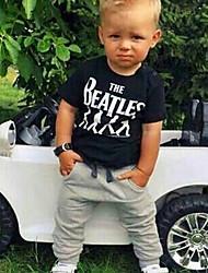 levne -Děti / Toddler Chlapecké Aktivní / Základní Jednobarevné / Tisk Tisk Krátký rukáv Standardní Bavlna Sady oblečení Černá