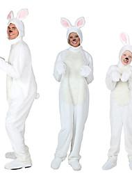 billige -Rabbit Mascot påskeharen Cosplay Kostumer سترة Barne Voksne Herre Ett Stykke Cosplay Påske Festival / høytid Polyester Hvit Karneval Kostumer Ensfarget