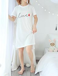preiswerte -Damen Grundlegend T Shirt Kleid - Gespleisst Druck, Buchstabe Knielang