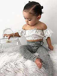 זול -סט של בגדים שרוולים קצרים פרחוני / משובץ בנות ילדים / פעוטות