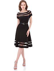 cheap -Women's Basic A Line Dress - Solid Colored Patchwork Black XL XXL XXXL
