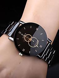 Недорогие -Муж. Нарядные часы Кварцевый Нержавеющая сталь Черный Повседневные часы Аналоговый На каждый день Мода маскарадный Простые часы - Черный