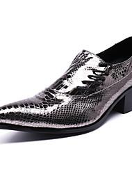 Недорогие -Муж. Официальная обувь Наппа Leather Весна Деловые / На каждый день Туфли на шнуровке Нескользкий Серебряный / Кожаные ботинки / Платья