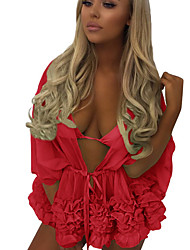 cheap -Women's Green Orange Red Cover-Up Swimwear - Solid Colored M L XL Green