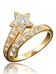 billige -Dame Klar Kvadratisk Zirconium Klassisk Ring Forlovelsesring 18K Guldbelagt Simuleret diamant Stjerne Stilfuld Luksus Romantik Mode Elegant Moderinge Smykker Rød / Blå / Gennemsigtig Til Fest