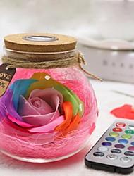 Недорогие -Новинка разноцветная роза мыла цветок желающих стеклянная бутылка светодиодная ночник на день святого валентина подарок на день рождения