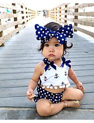 tanie -Dziecko Dla dziewczynek Aktywny Nadruk Wiązanie Bez rękawów Krótkie Bawełna Komplet odzieży Granatowy
