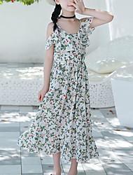 tanie -Dzieci Dla dziewczynek Boho / Moda miejska Kwiaty Nadruk Midi Bawełna Sukienka Biały