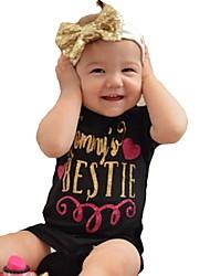 billige -Baby Jente Aktiv / Grunnleggende Geometrisk / Trykt mønster Hjerte Stil / Elegant / Blomster stil Kort Erme Bomull / Polyester Endelt Blå