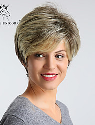 cheap -Synthetic Wig Straight Golden Pixie Cut / Layered Haircut Light golden Synthetic Hair 12 inch Women's Synthetic / Best Quality / Highlighted / Balayage Hair Golden Wig Short Capless BLONDE UNICORN