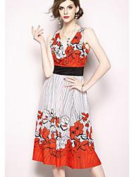 cheap -Women's Basic A Line Dress - Floral Print Blue Orange L XL XXL