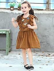 Χαμηλού Κόστους -Παιδιά Κοριτσίστικα Φλοράλ Πολυεστέρας Φόρεμα Καφέ