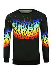 baratos -Homens Camiseta Estampado, Geométrica / Arco-Íris