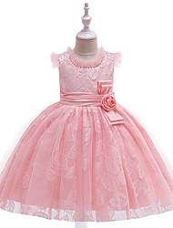 preiswerte -Kinder Mädchen Aktiv / Süß Solide Bestickt Ärmellos Knielang Kleid Rosa