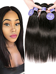 cheap -3 Bundles Peruvian Hair Straight Unprocessed Human Hair 100% Remy Hair Weave Bundles Headpiece Natural Color Hair Weaves / Hair Bulk Bundle Hair 8-28 inch Natural Color Human Hair Weaves Odor Free