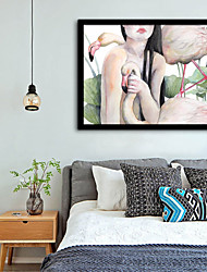 cheap -Framed Canvas Framed Set - People Animals Plastic Illustration Wall Art