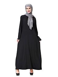 tanie -Damskie Vintage Podstawowy Swing Abaya Jalabiya Sukienka - Solidne kolory Midi