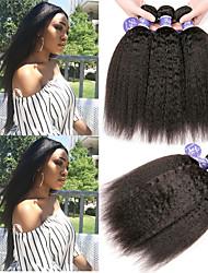 Недорогие -6 Связок Перуанские волосы Яки Вытянутые Не подвергавшиеся окрашиванию 100% Remy Hair Weave Bundles Головные уборы Человека ткет Волосы Пучок волос 8-28 дюймовый Нейтральный Ткет человеческих волос