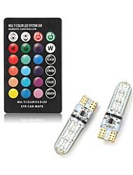 Недорогие -2 шт. T10 светодиодный автомобильный купол свет для чтения автомобилей клин лампы RGB светодиодные лампы с пультом дистанционного управления