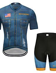お買い得  -MUBODO 男性用 半袖 ショーツ付きサイクリングジャージー ブーレ / ブラック バイク スーツウェア 高通気性 速乾性 反射性ストリップ スポーツ メッシュ マウンテンサイクリング ロードバイク 衣類 / 伸縮性あり