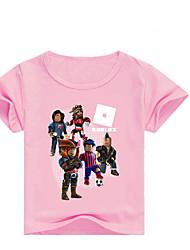 abordables -Enfants Fille Basique Imprimé Manches Courtes Coton / Spandex Tee-shirts Rose Claire