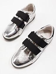 رخيصةأون -نسائي Leather نابا الربيع المتسكعون وزلة الإضافات كعب مسطخ أسود وفضي