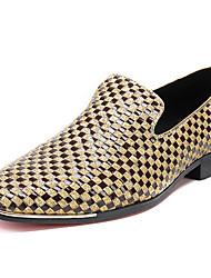 hesapli -Erkek Ayakkabı Nappa Leather Bahar İş / Günlük Mokasen & Bağcıksız Ayakkabılar Günlük / Ofis ve Kariyer için Altın / Gümüş / Zıt Renkli