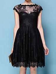 abordables -Femme Mi-long Trapèze Robe Noir M L XL Sans Manches