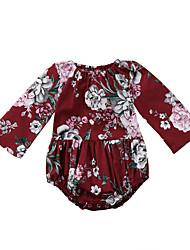 povoljno -Dijete Djevojčice Aktivan Cvjetni print Dugih rukava Pamuk / Spandex Kombinezon Lila-roza
