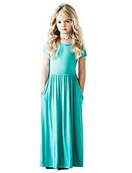 preiswerte -Kinder Mädchen Boho Solide Patchwork Kurzarm Maxi Baumwolle Kleid Purpur