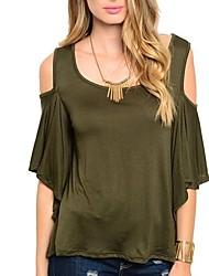 저렴한 -여성용 솔리드 티셔츠 그레이 L