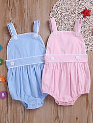 お買い得  -赤ちゃん 女の子 活発的 / ベーシック ソリッド バックル ノースリーブ コットン ボディスーツ ピンク