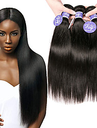 cheap -3 Bundles Indian Hair Straight Unprocessed Human Hair 100% Remy Hair Weave Bundles Headpiece Natural Color Hair Weaves / Hair Bulk Bundle Hair 8-28 inch Natural Human Hair Weaves Odor Free Extention