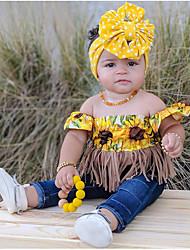 billige -Barn / Baby Jente Aktiv / Grunnleggende Blomstret Dusk / Hull / Trykt mønster Kortermet Normal Bomull / Spandex Tøysett Gul