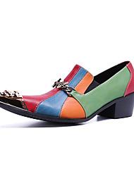 tanie -Męskie Nowoczesne buty Skóra nappa Wiosna / Jesień i zima Casual / W stylu brytyjskim Mokasyny i buty wsuwane Antypoślizgowe Kolorowy blok Tęczowy / Impreza / bankiet