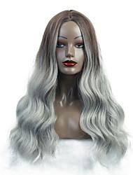 halpa -Synteettiset peruukit / Ombre Kihara / Luonnolliset aaltoilevat Tyyli Keskiosa Suojuksettomat Peruukki Valkoinen Ruskea / valkoinen Synteettiset hiukset 26 inch Naisten synteettinen / Keskiosa Ompele