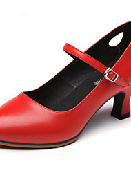 olcso -Női Modern cipők Bőr Magassarkúk Kubai sarok Dance Shoes Fekete / Piros