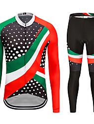 お買い得  -MUBODO 男性用 長袖 タイツ付きサイクリングジャージー 緑 / ブラック バイク スーツウェア 高通気性 速乾性 反射性ストリップ スポーツ メッシュ マウンテンサイクリング ロードバイク 衣類 / 伸縮性あり